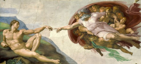 God's creation of Adam, by Michelangelo