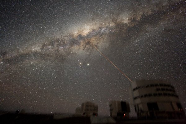 Milky Way galaxy and laser beam shot from ESO observatory